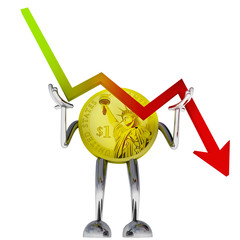 dollar coin robot stop descending stock graph illustration