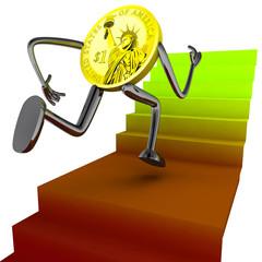 dollar coin robot run for better results  illustration