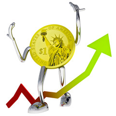 dollar coin robot show better investment chace illustration