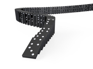 Black dominoes falling over
