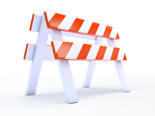 Orange barrier white background