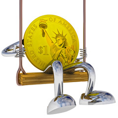dollar coin robot swinging on a swing left side view