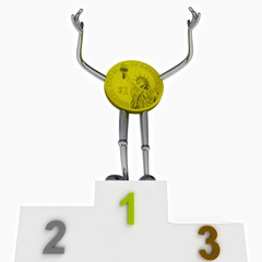 dollar coin robot as winner ceremony illustration
