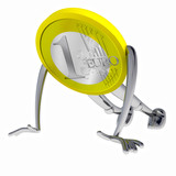 euro coin robot train stronger at gym illustration poster
