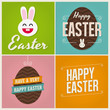 Happy easter cards with easter eggs and bunny