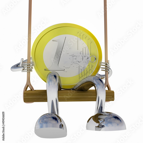 euro coin robot swinging on a swing front view illustration