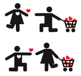 Stylized man and woman vector icons. Love concept