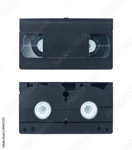 Video cassettes isolated on white background. Video tape