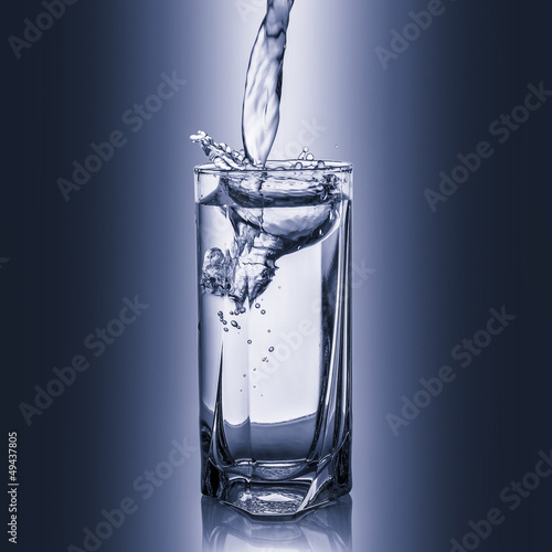 Glass of pure spring water