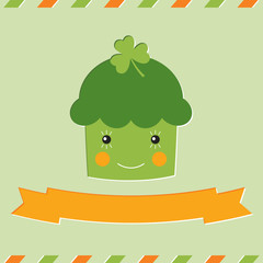 St. Patrick's Day cupcake card