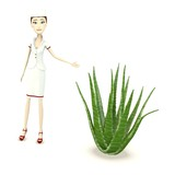 3d render of nurse with aloe