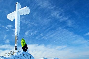 Gipfelkreuz auf dem Grossen Arber im Winter