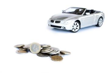 money & car isolated on the white background
