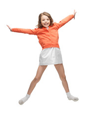 jumping girl in casual clothes