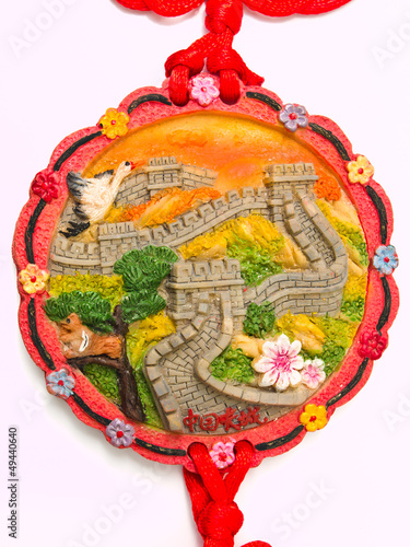 Great wall of China bas relief pendant isolated on white backgro