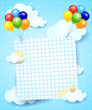 Balloons and paper sheet