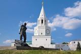 Spasskaya Tower and monument to Musa Dzhalil in Kazan, Russia poster