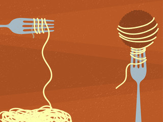 Spaghetti and Meatball Illustration