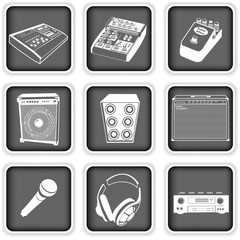 Music equipment icons