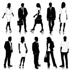 Vector Illustration: Collection of people silhouettes