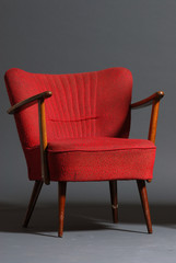 old red armchair