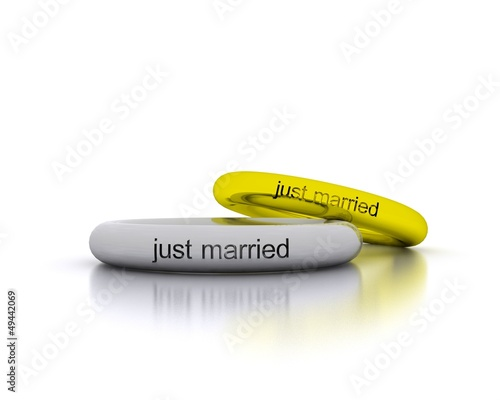3D Wedding Rings - just married
