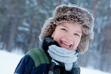 Portrait of boy wearing scarf, winter
