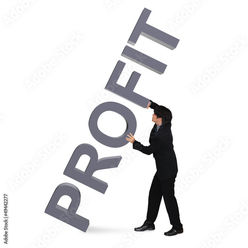 "Young businessman holding 3D Word ""Profit"""