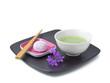 Japanischer Grüntee mit Teegebäck