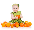 happy baby  girl with fruits isolated on white background