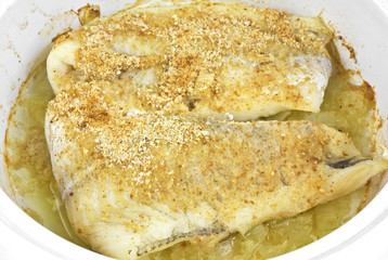 Close view cooked breaded haddock