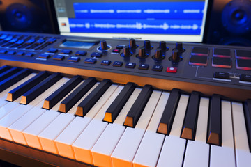 Keyboard in Home Music Studio