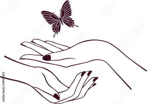 Hands with butterfly