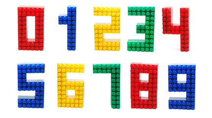 Colored Plactic Blocks Digits Set Isolated
