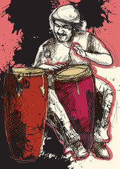 conga player - a hand drawn grunge illustration
