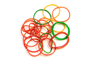 Elastic bands on a white background