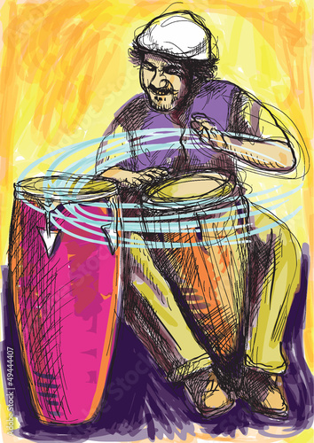 conga player - a hand drawn grunge illustration into vector