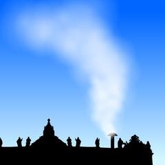 petersdom mit weissem rauch II