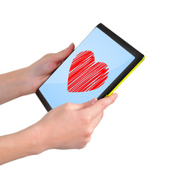 tablet with heart