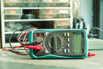 Checking Circuit by Multi-Meter. Electrical Engineer on during c