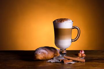 latte macchiato and croissant