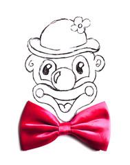 clown et Nœud rose en tissus