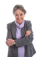 Witzige lachende Großmutter isoliert