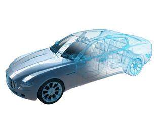 Auto 3D Gitternetz weiss