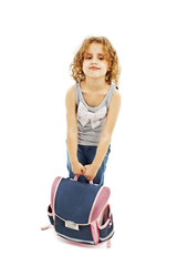 Small girl carrying heavy school bag on white background