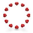 Rote 3D Herzen im Kreis 5