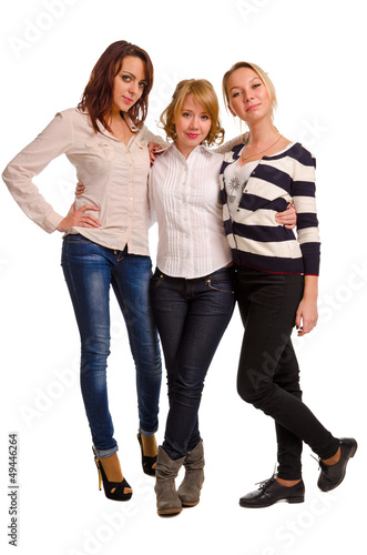 Three happy female companions