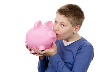 boy kissing pink piggybank