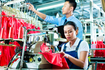 Seamstress and shift supervisor in textile factory