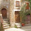 italian yard in tuscan village